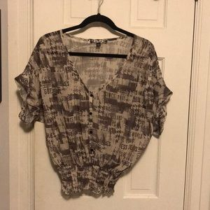 Guess newspaper blouse